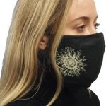 Blakc Sunflower print mask